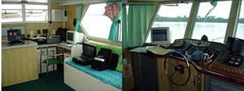 Console de navegação e de sondagem da lancha Airuwe